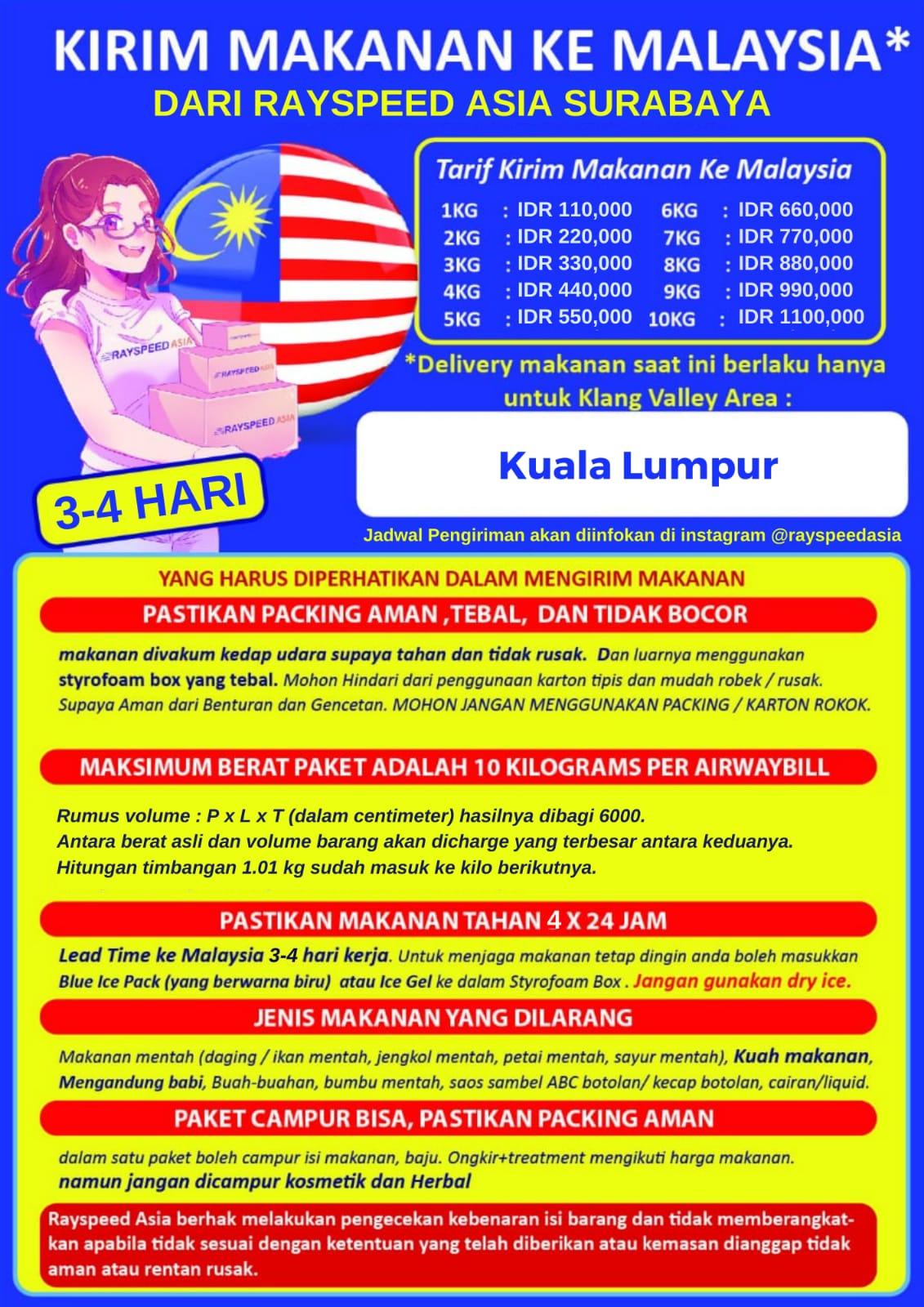Harga Kiriman Makanan ke Malaysia